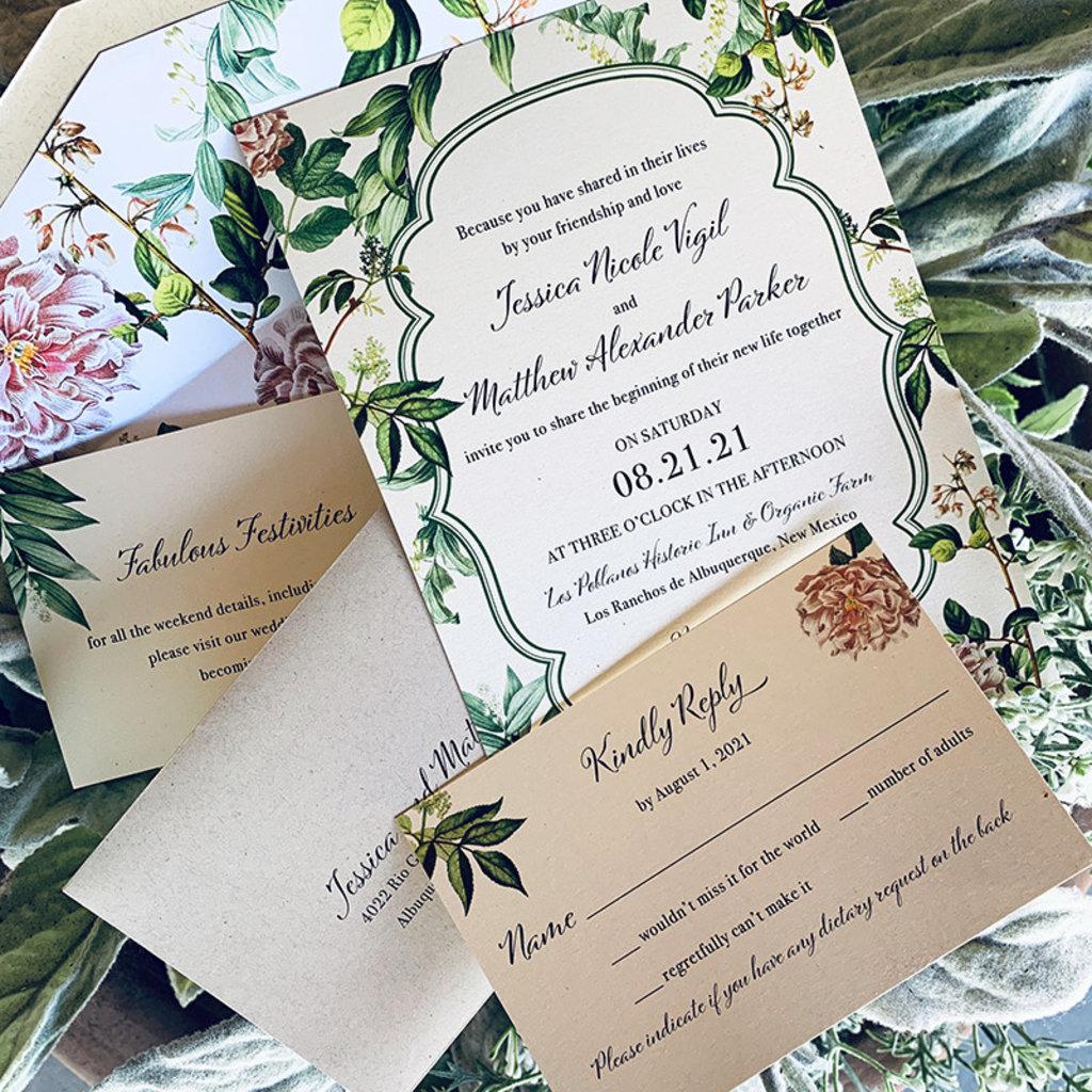 Pennysmiths Invitations Vintage Botanical Invitation