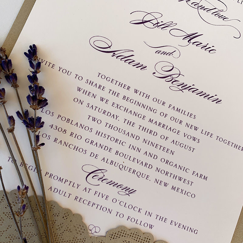 William Arthur Jill & Adam Wedding Invitation