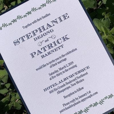 William Arthur Stephanie & Patrick Wedding Invitation