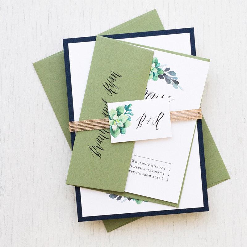 Green Succulent Wedding Invitation