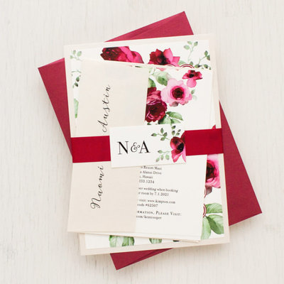 Tag & Co Blush of Rose Wedding Invitation