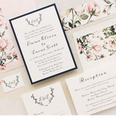 Tag & Co Antique Roses Wedding Invitation