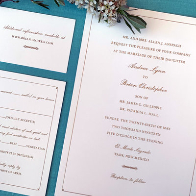 Pennysmiths Invitations Andrea & Brian Wedding Invitation