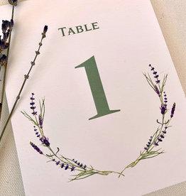 Pennysmiths Invitations Lavender Sprig Table Number