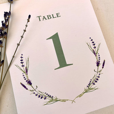 Pennysmiths Invitations Lavender Sprig Table Number