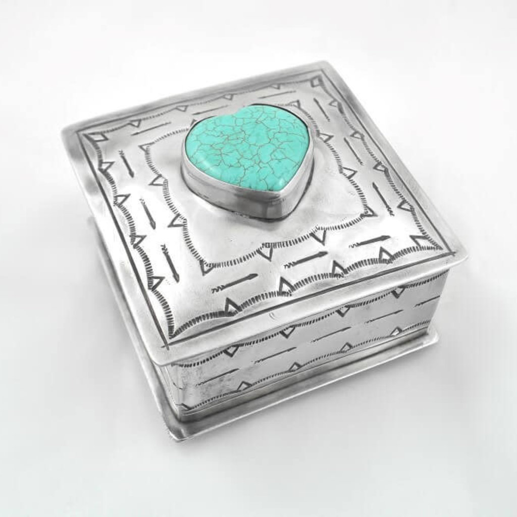 J. Alexander Silver STAMPED SQ BOX W/TURQUOISE heart