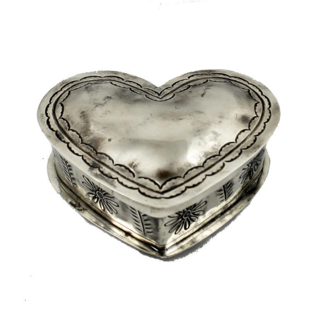 J. Alexander Silver STAMPED SILVER HEART SHAPE BOX