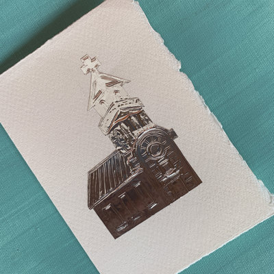 Embossed Silver Cathedral Card