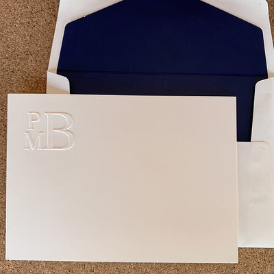 Embossed Graphics Stacked Monogram Card set of 25