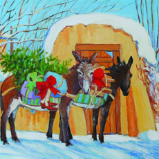Special Delivery by Two Christmas Burros Holiday Cards