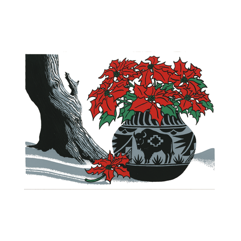 Buffalo Pot with Poinsettia Holiday Cards