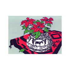 Indian Pot With Poinsettia and Rug Holiday Cards
