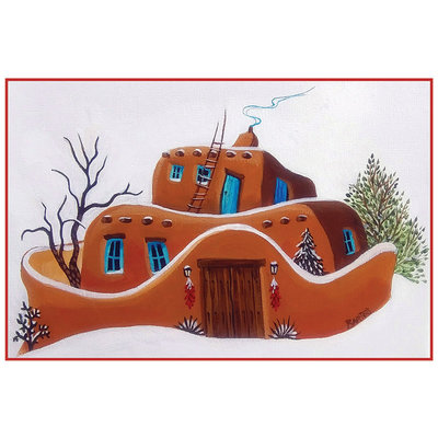 Adobe House in Snow Holiday Cards