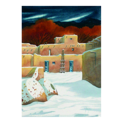 Taos with Rust Trees Holiday Cards