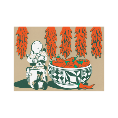 Story Teller & Bowl with Chilies Holiday Cards