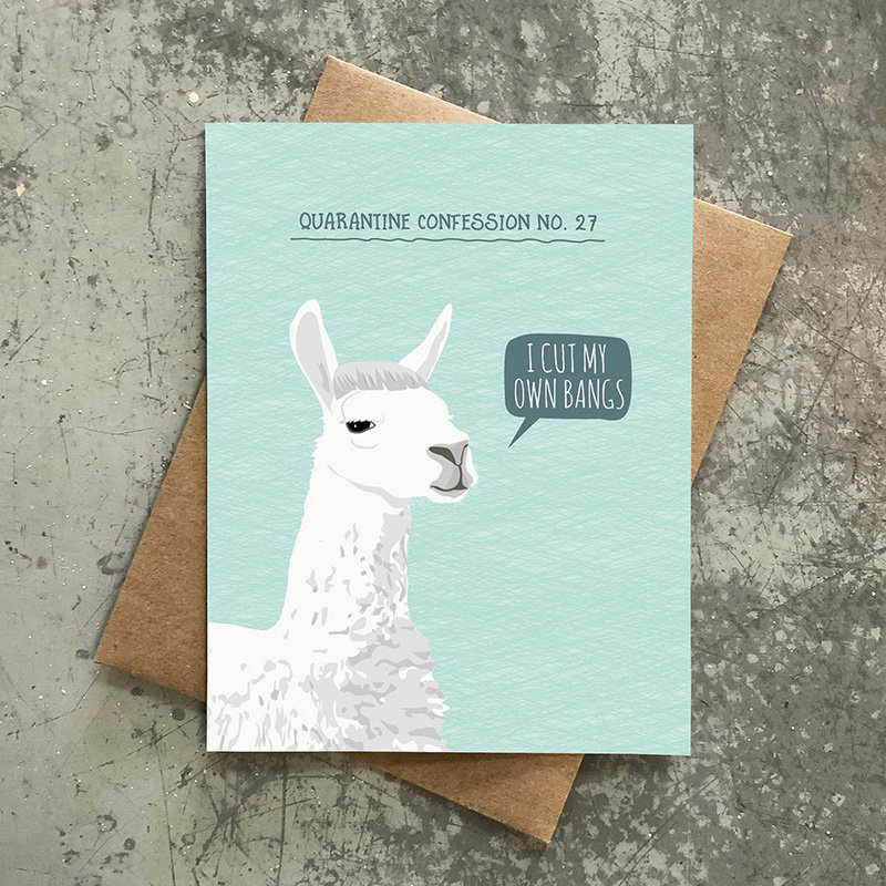 Modern Printed Matter Quarantine Confession  Llama Card