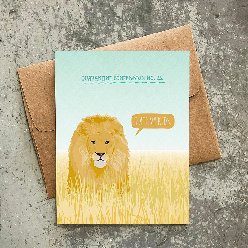 Modern Printed Matter Quarantine Confession Lion Card