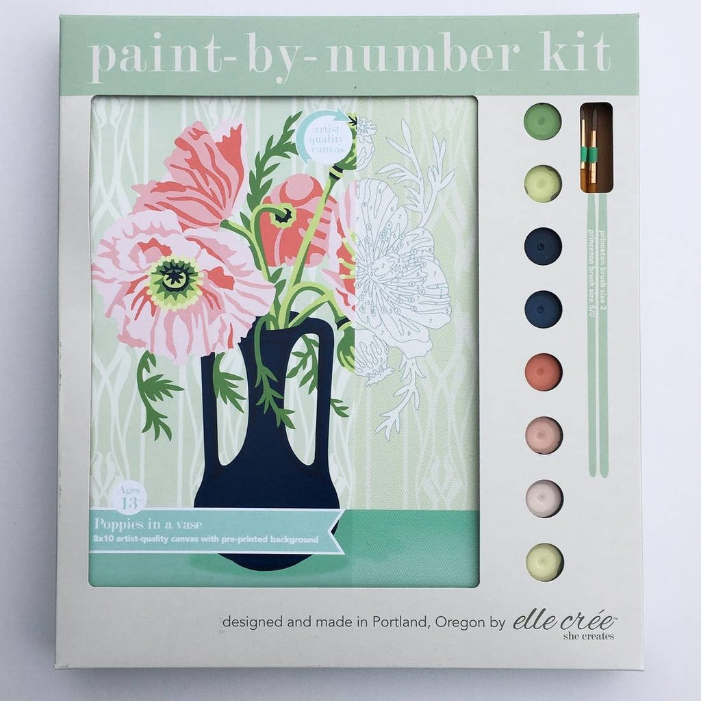 Poppies in Vase Paint by Number Kit