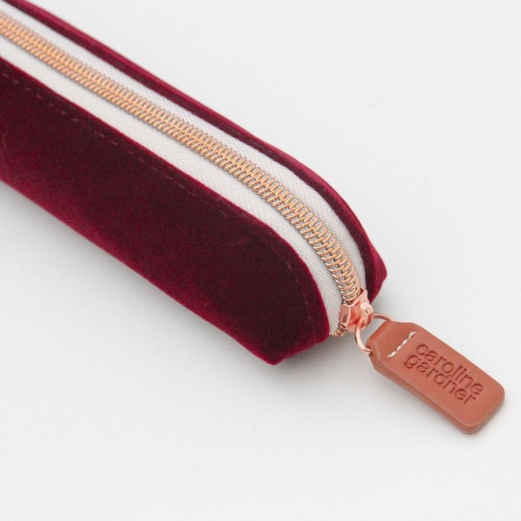 burgundy velvet pencil case