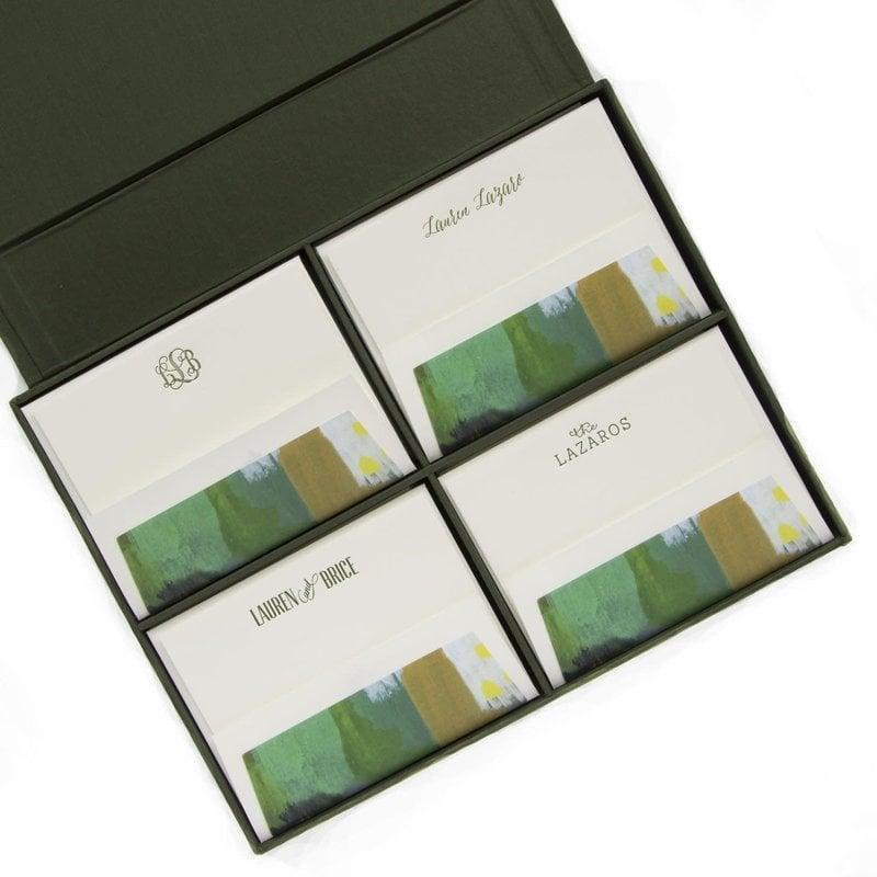 GRAND OLIVE SILK STATIONERY BOX