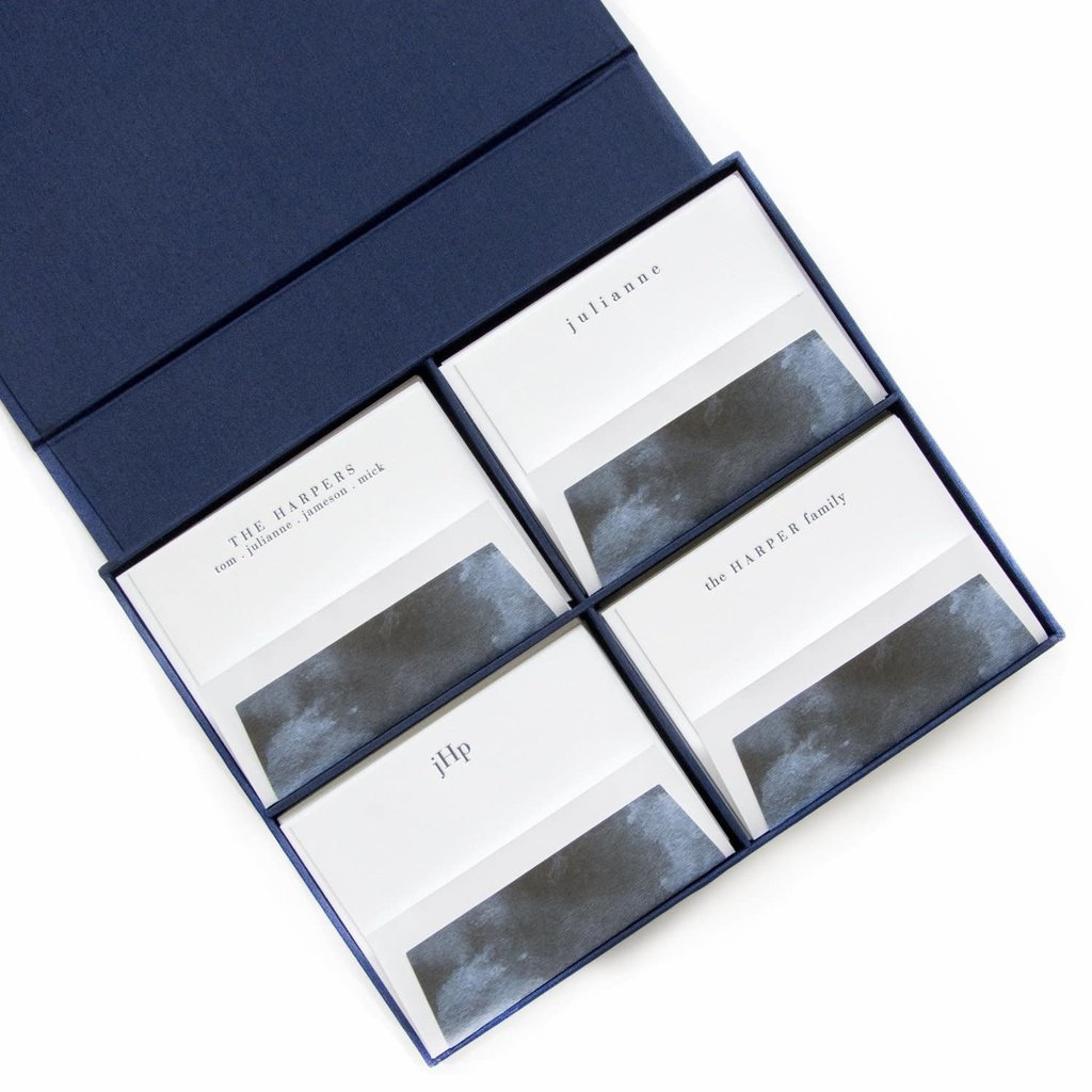 GRAND NAVY SILK STATIONERY BOX