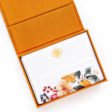 PETITE ORANGE SILK STATIONERY BOX