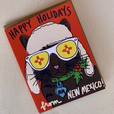 La Familia Green New Mexico Cat Holiday Card
