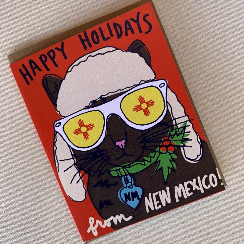 La Familia Green New Mexico Cat Holiday Card