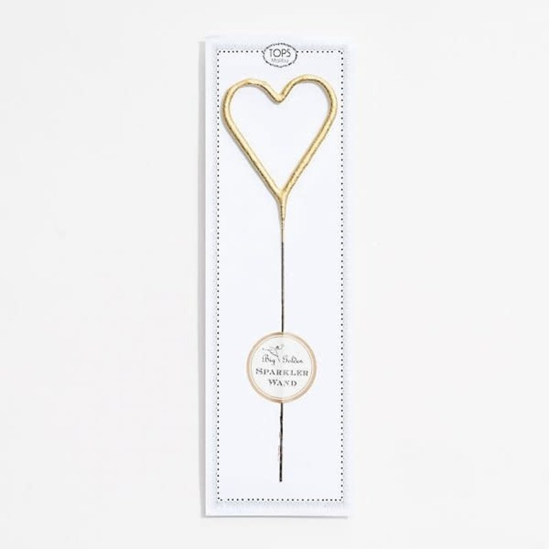 Big Golden Heart Sparkler Wand 8""
