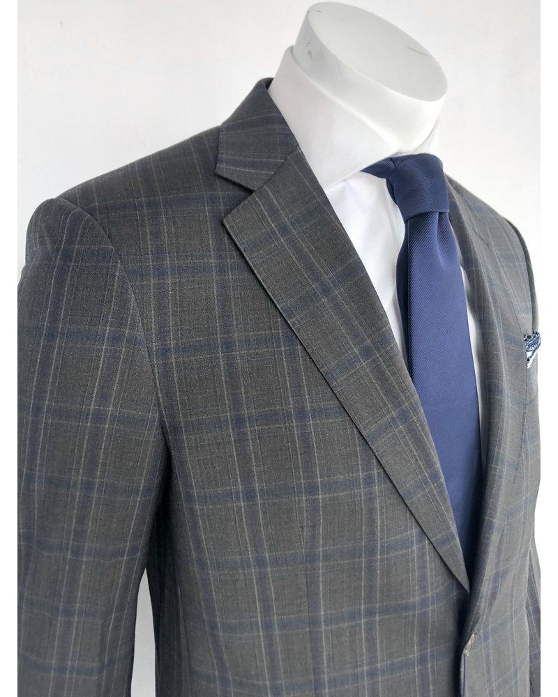 Max Davoli Max Davoli Charcoal Plaid Suit