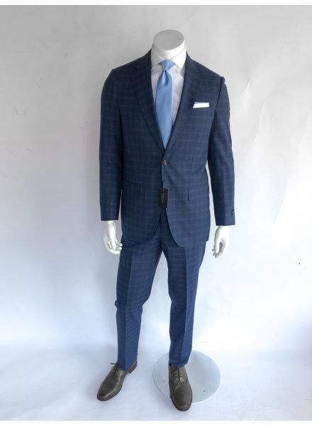 Max Davoli Blue Plaid Suit