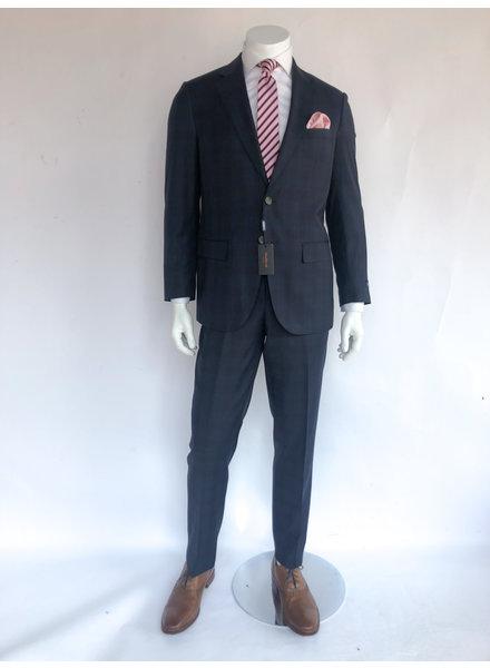 Max Davoli Navy Plaid Suit