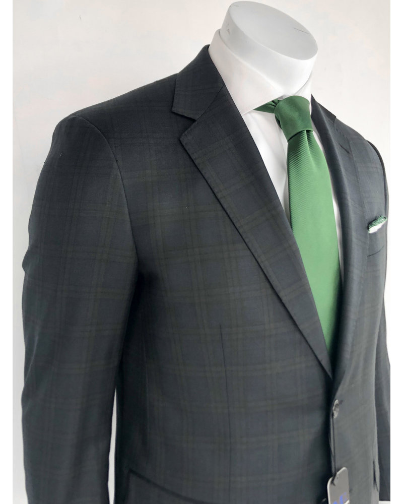 M2 Black Plaid Suit