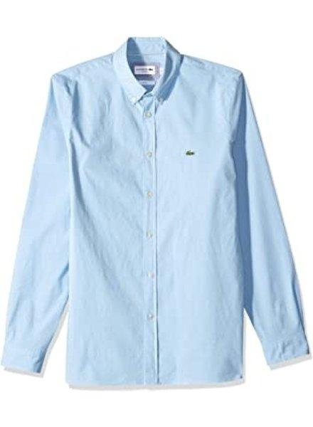 Lacoste Stretch Blue Cotton Poplin Shirt