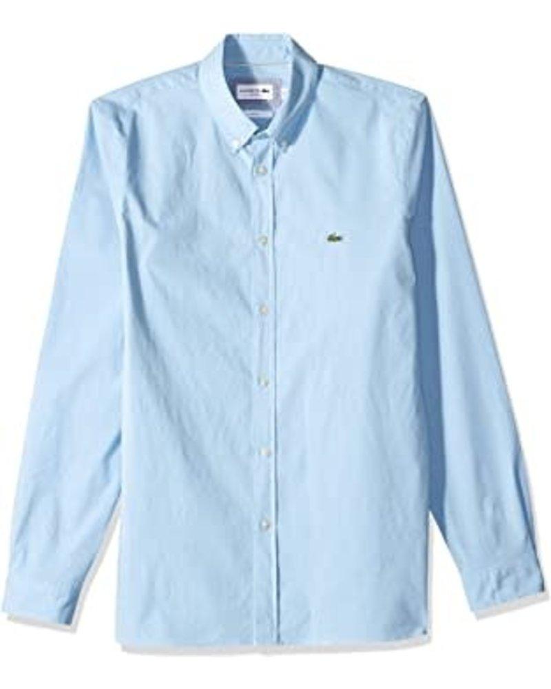 Lacoste Lacoste Stretch Blue Cotton Poplin Shirt