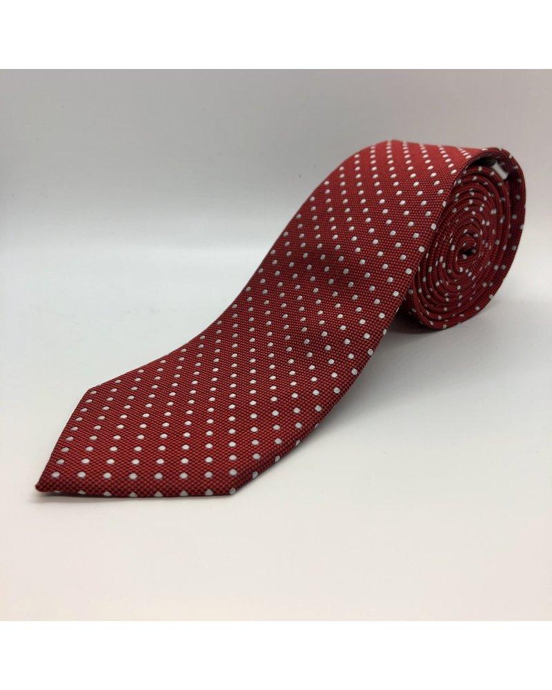 White Mini Dot Tie Red