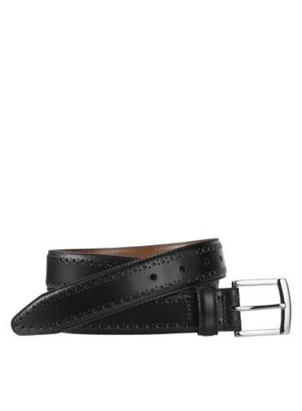 Johnston & Murphy Black Perfed-Edge Belt