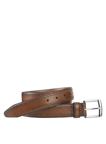 Johnston & Murphy Tan Perfed-Edge Belt