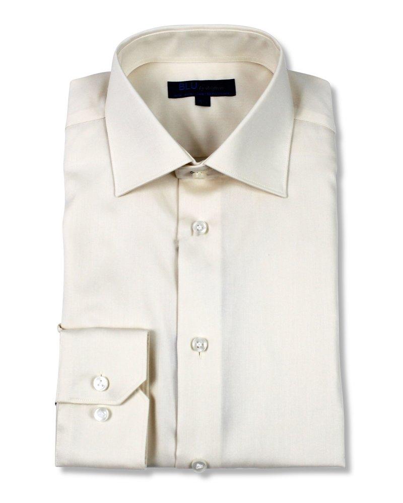 Blu by Polifroni Blu Solid Ecru Dress Shirt