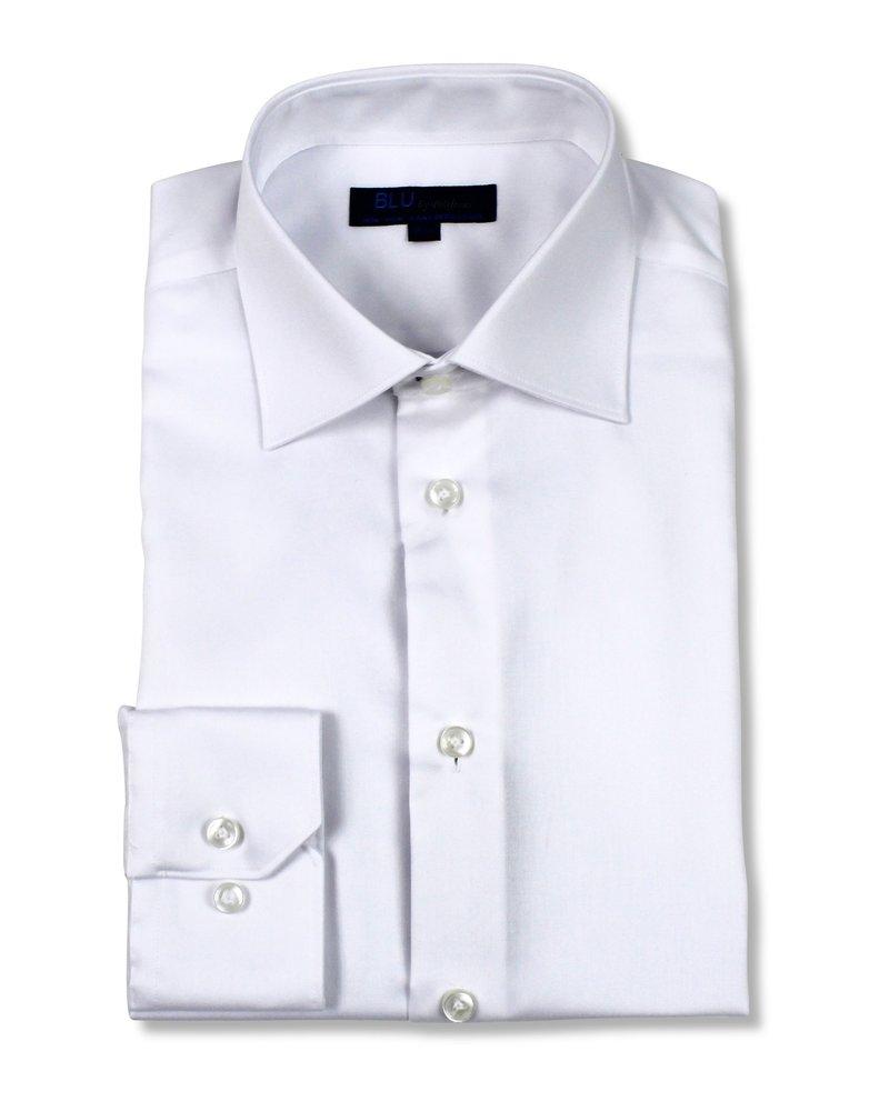 Blu by Polifroni Blu Solid White Dress Shirt