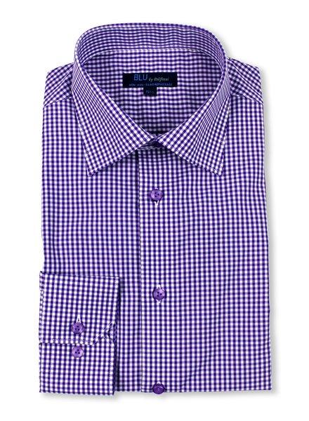Blu by Polifroni Purple Check Dress Shirt