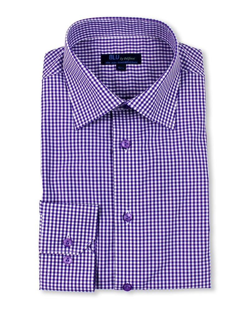 Blu by Polifroni Blu Purple Check Dress Shirt