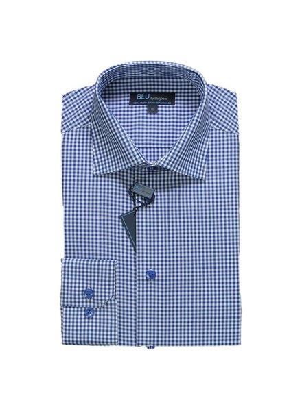 Blu by Polifroni Blue Check Dress Shirt