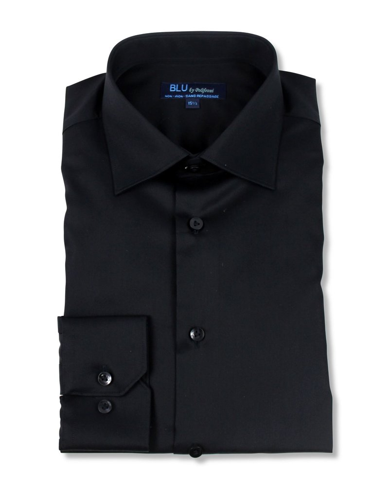 Blu by Polifroni Blu Solid Black Dress Shirt