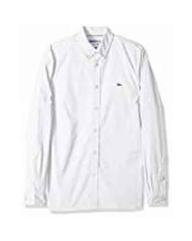 Lacoste Lacoste Stretch White Cotton Poplin Shirt