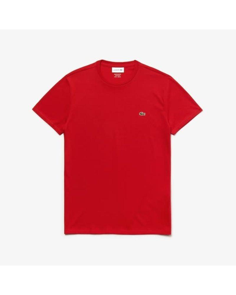 Lacoste Lacoste Crew Neck Pima Cotton T-Shirt-Red