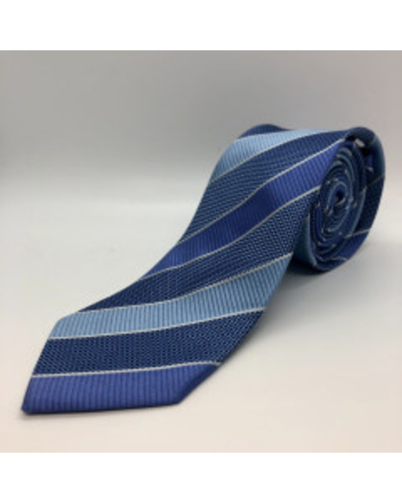 Alternating Block Stripe Tie Blue