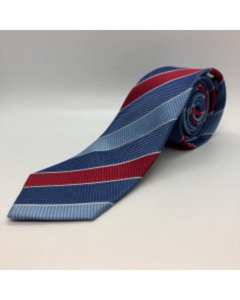 Alternating Block Stripe Tie Red