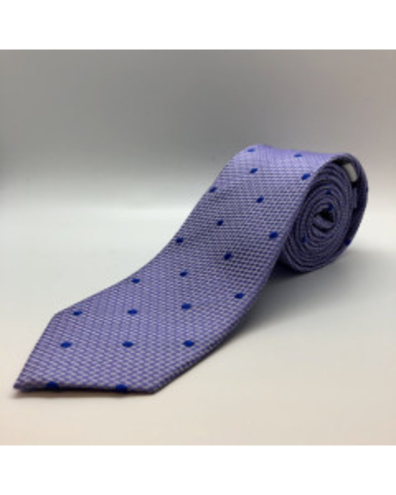 Blue Textured Dot Tie Lavender