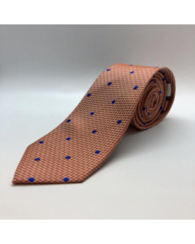 Blue Textured Dot Tie Orange